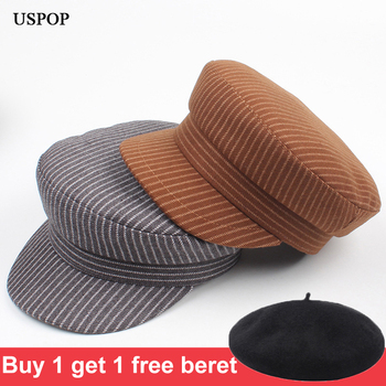 USPOP striped newsboy caps women vintage wool newsboy caps flat hard top military visor caps Octagonal hat vintage wool felt octagonal cloche hat