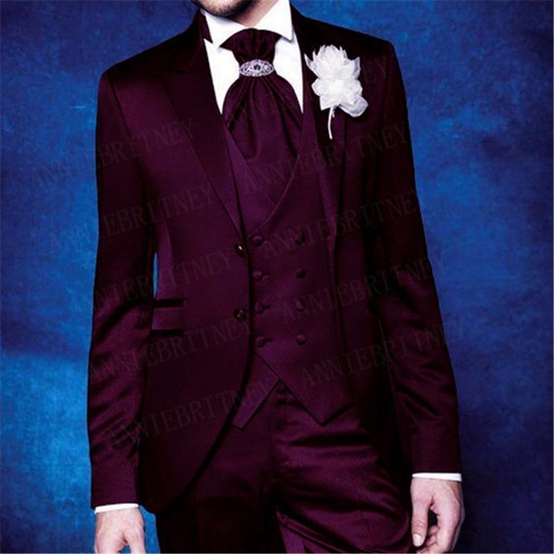 Shiny Suits Men 2020 Wedding Party Prom Dinner Formal Groom Tuxedo Custom Lake Blue Slim Fit Blazer Vest Pant 3Pcs