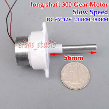 6V-12V 48RPM Slow Speed Micro 300 Turbo Worm Gear Motor Mini Gearbox Reducer 5mm diameter Long Shaft DIY Toy Model image