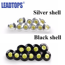 Leadtops águia olho lâmpada 12v ultra fino diâmetro 23mm luzes diurnas drl preto/prata escudo estacionamento lâmpada universal bf