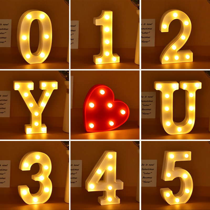 1 2 3 4 5 6 7 8 9 0 Numbers LED Night Light For Valentine's Day Gift Wedding Party DIY Wall Home Decoration Marquee Lights Lamp