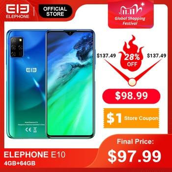 ELEPHONE E10 Smartphone 4GB 64GB 6.5'' Waterdrop Screen 48MP Quad Rear Cameras Octa Core 4000mAh Android 10.0 Mobile Phones NFC