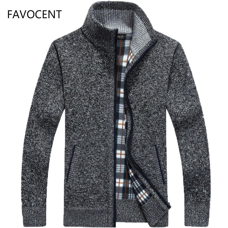 2019 Autumn Winter Men's Sweater Coat Faux Fur Wool Sweater Jackets Men Zipper Knitted Thick Coat Warm Casual Knitwear Cardigan