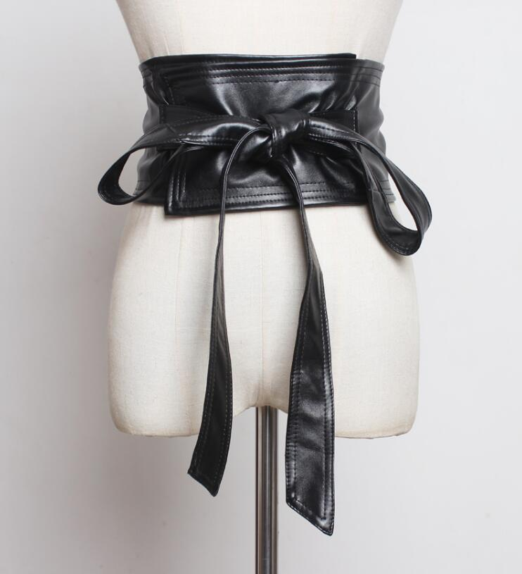 Women's Runway Fashion Big Bow Pu Leather Cummerbunds Female Dress Corsets Waistband Belts Decoration Wide Belt R2243