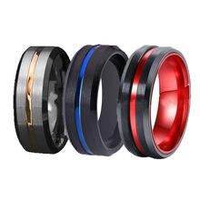 FDLK 3 Stili Classici Anelli di Nozze Per Gli Uomini di Anello In Acciaio Inox In Acciaio Nero con il Rosso Blu di Alluminio Anello di Fidanzamento