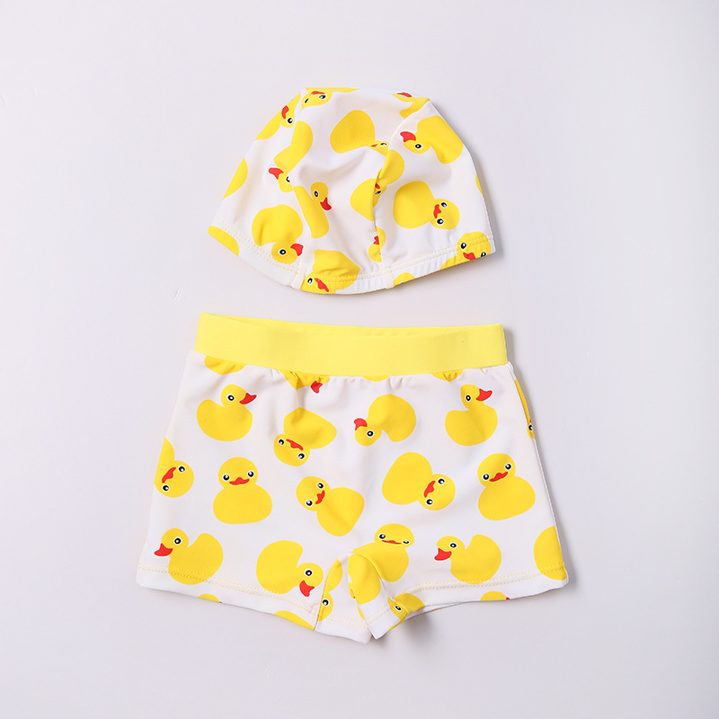 2017 New Style CHILDREN'S Swimming Trunks BOY'S Outdoor Sports Boxers Cute Little Duck Pattern Send Swim Cap