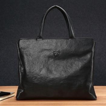 FEGER Genuine Leather Men's Handbag Slim Laptop Briefcase Computer Bag Business Briefcases for Man Black