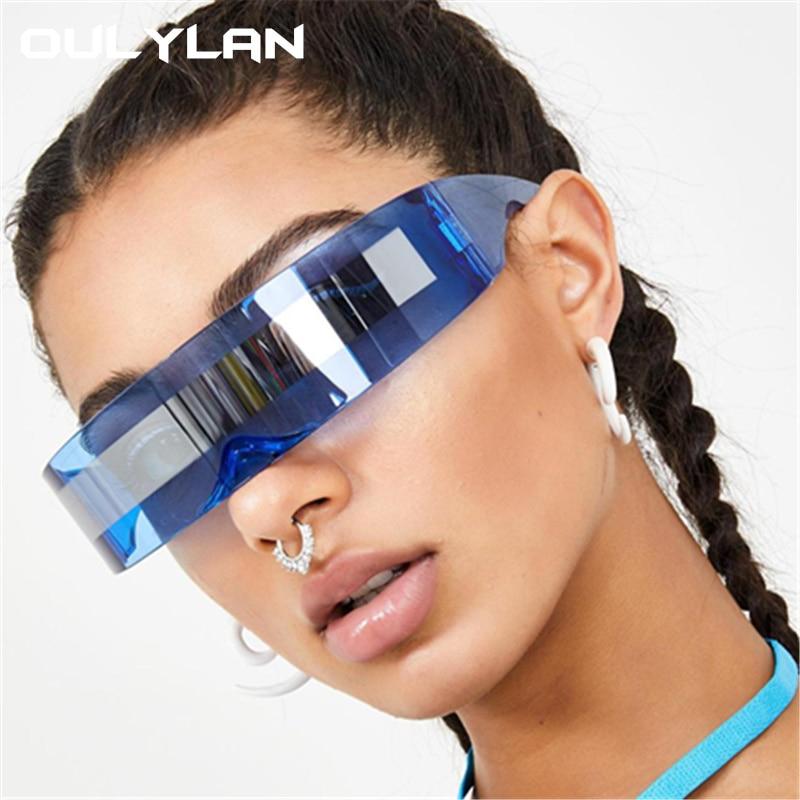 Oulylan Futuristic Wrap Around Goggle Sunglasses Women Unique Mirror Pink Blue Clear Lens Glasses Men Party Mask Sun Glasses