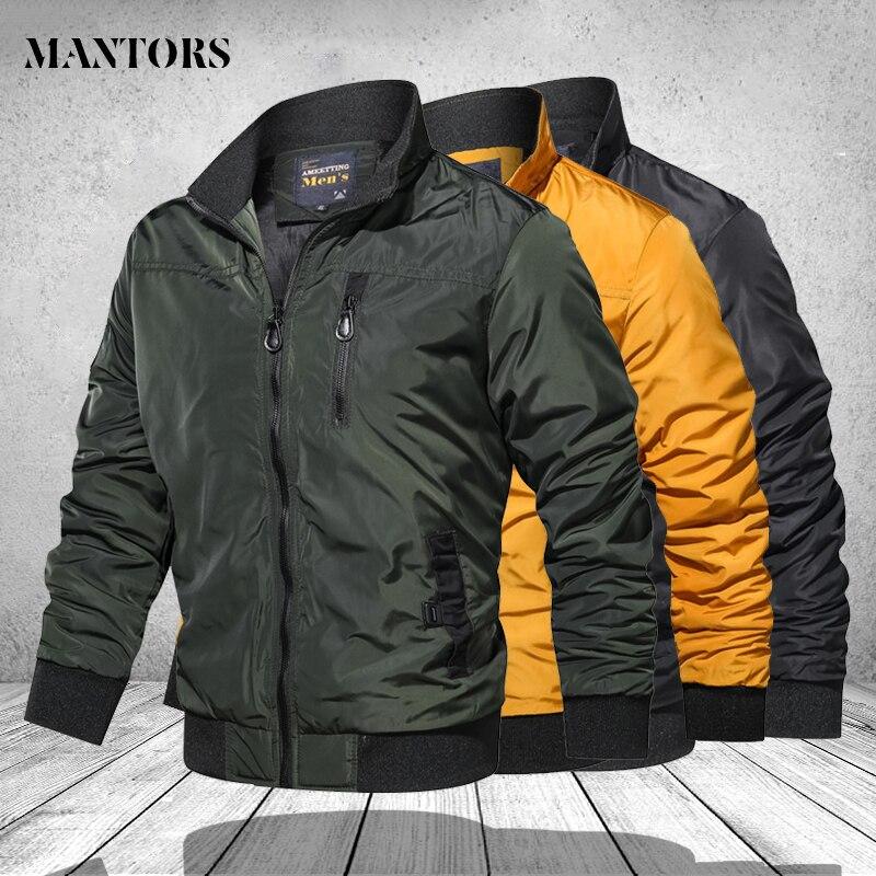 Куртка в стиле милитари для мужчин 2020 Мода Стенд воротник Мужская куртка-бомбер пилотные мужские армейские куртки и пальто Cargo пиджаки в руб...