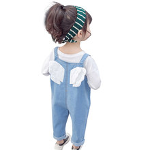 Girls jumpsuit patchwork girl jumpsuit jeans pocket kids denim overalls autumn girl baby clothes(China)