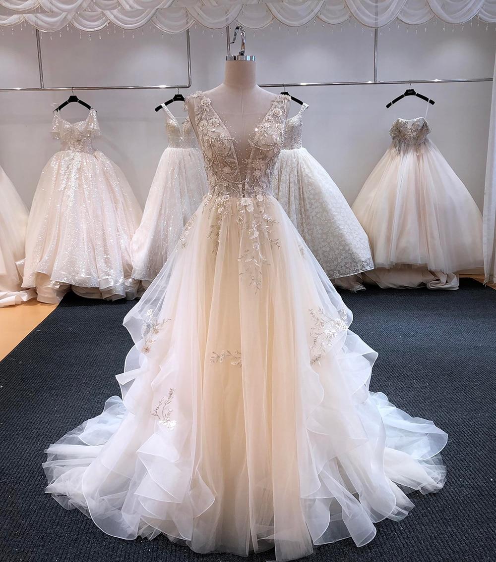 SL-6254 lindo appliques tribunal trem a linha v-neck vestidos de casamento 2020 luxo frisado sem encosto vestido de noiva