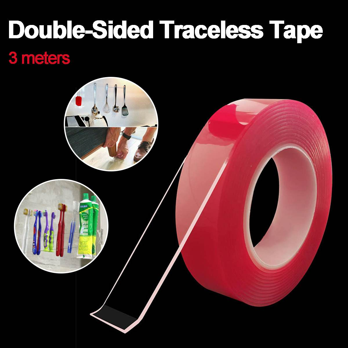 3 Meters Reusable Double Sided Tape Adhesive Heavy Duty Adhesive Loop Transparent Traceless Tape Clear Washable Remove Sticker