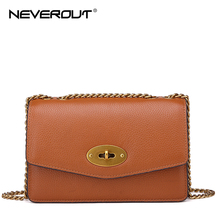 NEVEROUT Ladies Crossbody Bags for Women Genuine Leather Shoulder Sac Woman Solid Flap Small Female Messenger Bag Girls
