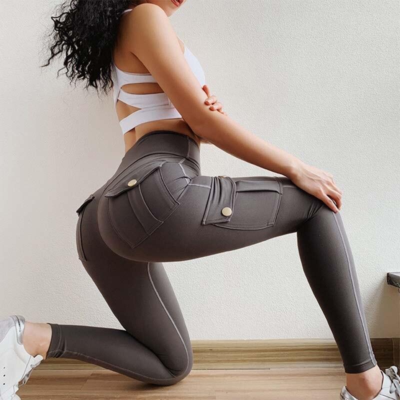 Women Sexy fashion Slim Leggings High Waist Elastic Push Up Four Pockets Legging Female Workout Fitness Leggins Femme Casual New
