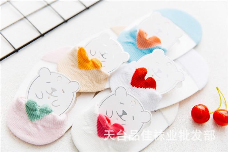 Children Summer Thin Section Transparent Crystal No-show Socks Stereo Heart Cotton Breathable Floor Socks Baby Girls Short Socks