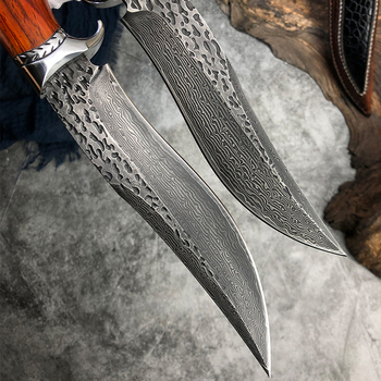 Handmade Hunting Knife Damascus Steel Fixed Blade Knife Leather Sheath Dalbergia Wood Handle Outdoor Survival Camping Tool 3