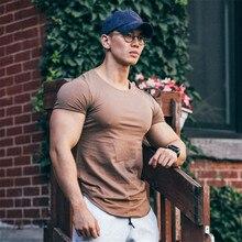 Hommes coton à manches courtes gymnastique Muscle mouvement maigre nouvel été Fitness musculation mâle décontracté col rond t-shirt hauts vêtements