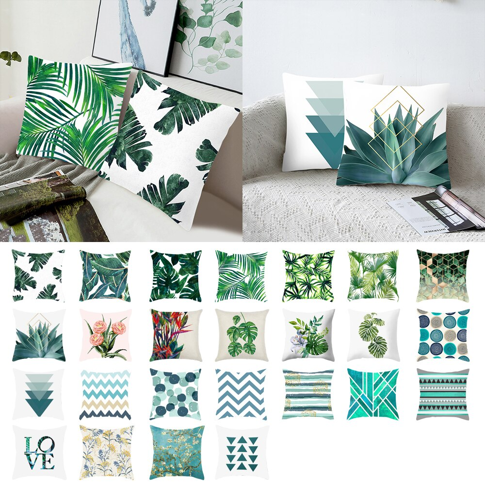 Square Green Leaves Printing Pattern Pillowcase Tropical Plant Pillow Cover Polyester Pillow Case For Home Decor Cushion Cover