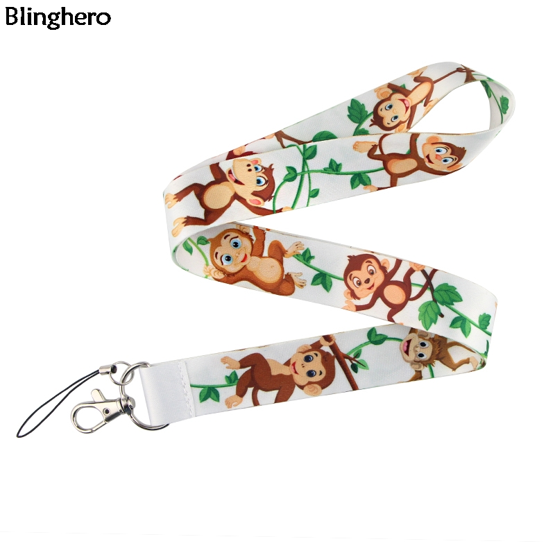Blinghero Cute Cartoon Animals Monkey Keys ID Card Gym Mobile Phone Straps USB Badge Holder DIY Phone Hang Rope Lanyard ZC0210