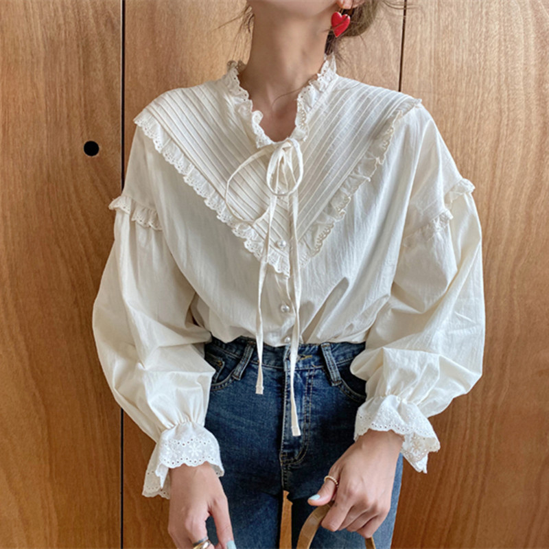 Alien Kitty 2020 New Arrival Hollow Out Vintage Elegant Tops Women Shirt Solid Long Sleeve Korean Style Loose Blouses Blusas