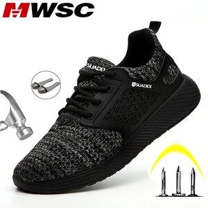 Image 1 - Защитные рабочие ботинки MWSC для мужчин, рабочие ботинки со стальным носком, неразрушаемые защитные ботинки, мужские защитные кроссовки