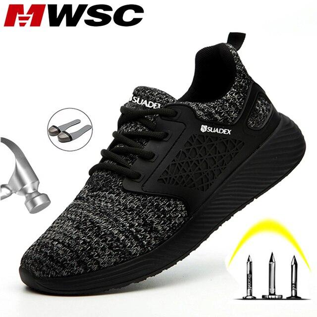 Защитные рабочие ботинки MWSC для мужчин, рабочие ботинки со стальным носком, неразрушаемые защитные ботинки, мужские защитные кроссовки