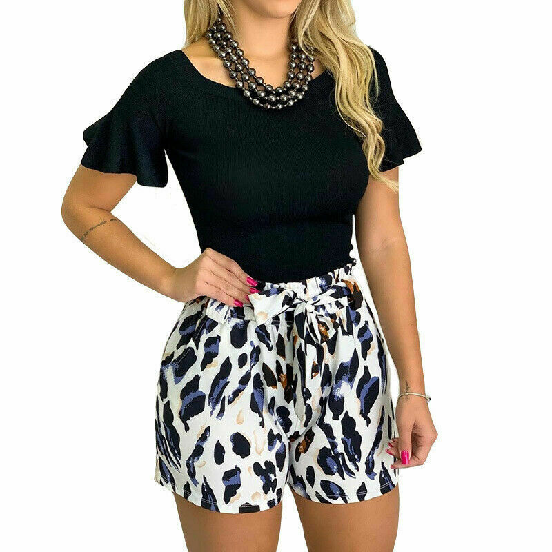 2019 Women Summer Shorts Leopard High Waist Bandage Beach Shorts Pants Ladies Sprot Short 2019 Summer