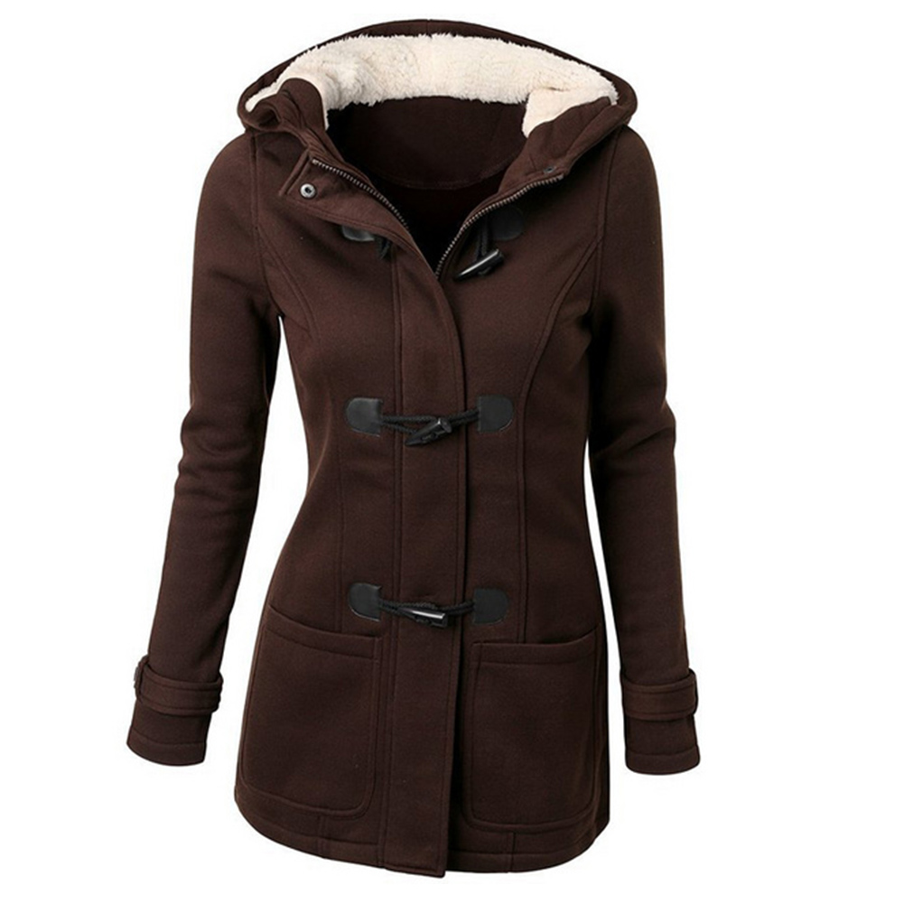 Women Cotton Overcoat 2019 Winter Casual Horn Button Hooded Blend Outwear Fashion Pocket Solid Buckles Female Coat Plus Size 2
