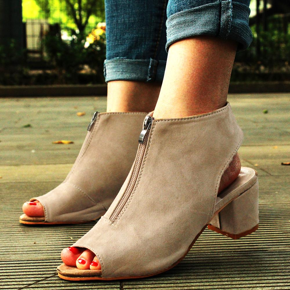 Wedge Sandals Platform Shoes High-Heel Spring Zipper Women Fish-Mouth Casual Solid Suede