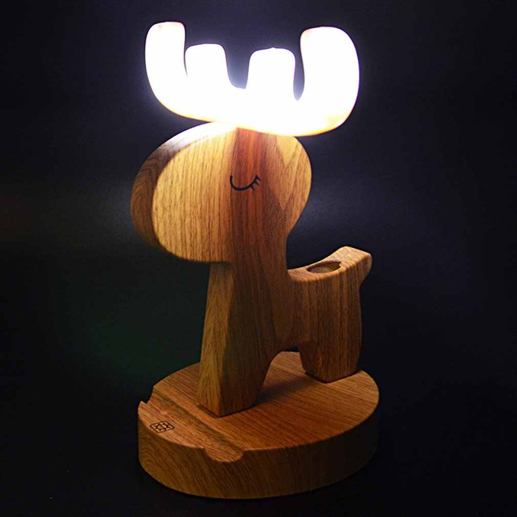 2 в 1 универсальный портативный мультфильм олень деревянный держатель для