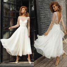 Элегантное короткое свадебное платье недорогое кружевное Бохо