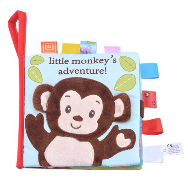 Baby Cloth Book Animal Three-Dimensional Early Education Cloth Book Tag Cute Rattle Toy Animal Style Kids Toy Children Gifts