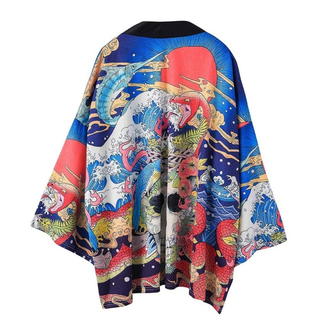New Japanese Kimono Cardigan Men Haori Yukata Male Samurai Costume Clothing Kimono Jacket Mens Kimono Shirt Yukata Haori Samurai