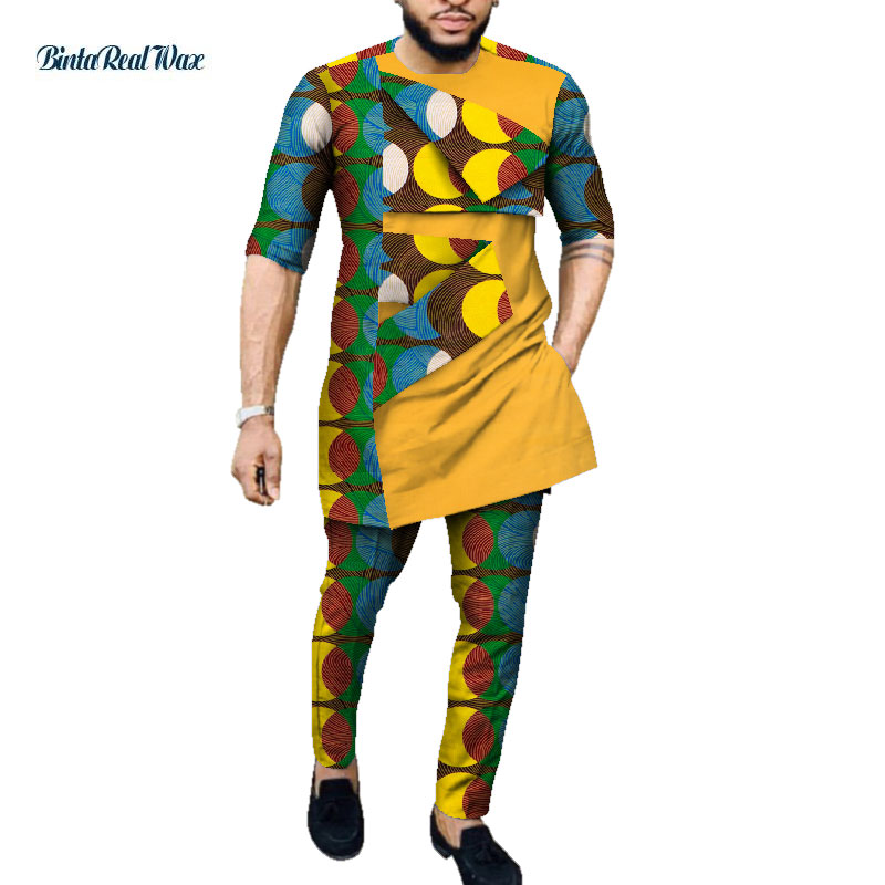 African Style Clothing Mens Print Clothes 100% Cotton Patchwork Top And Long Pants Sets African Print 2 Piece Pants Sets WYN1054