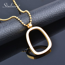 SINLEERY Stainless Steel Jewelry Minimalist Geometric Couple Gold Color Women's Pendant Long Necklace 2021 New Arrival XL252 SSK