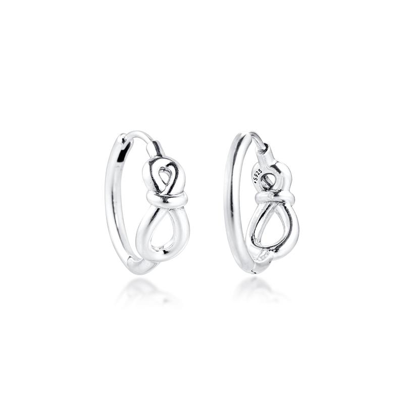 Infinito nó hoop brincos 925 prata esterlina jóias para a mulher compõem moda brincos femininos festa jóias