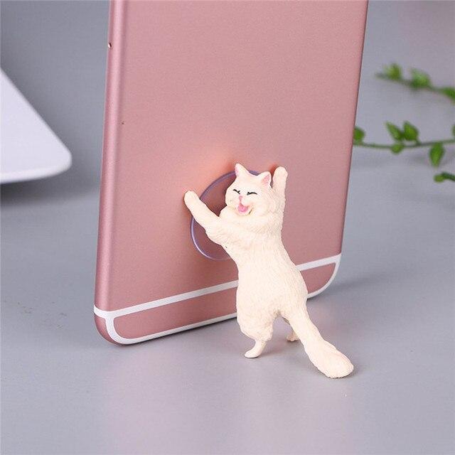 1pc Cat Figurine Miniature Cat Sucker Design Phone Holder mini fairy garden Cartoon statue craft Home Car Decorative 6