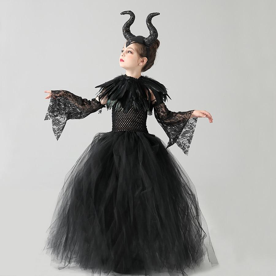 Vestido de Halloween gótico para niños maléfica, tutú con pluma, vestidos para reina