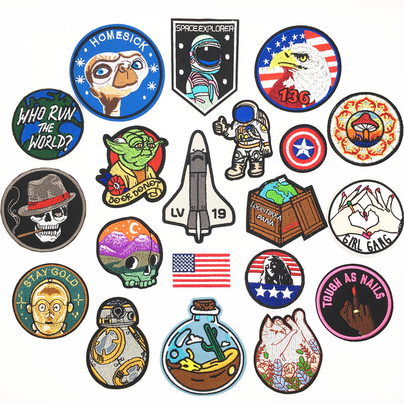 Star War Patch Iron On Embroidered For Clothing Skull Home Sick Captain America star clothes stickers Applique Fabric