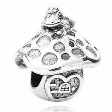 925 Sterling Mushroom European Charms Bead Fit Pandora Original Bracelets DIY Pendant Charm Beads Girl Women Jewelry Making 925 sterling heart european charms bead fit for original pandora bracelets diy pendant charm beads girl women jewelry making