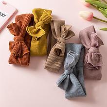 Solid Knitted Bow Baby Headbands For Girls Autumn Handmade Elastic soft Hairband Children Newborn Hair Accessories New Hot