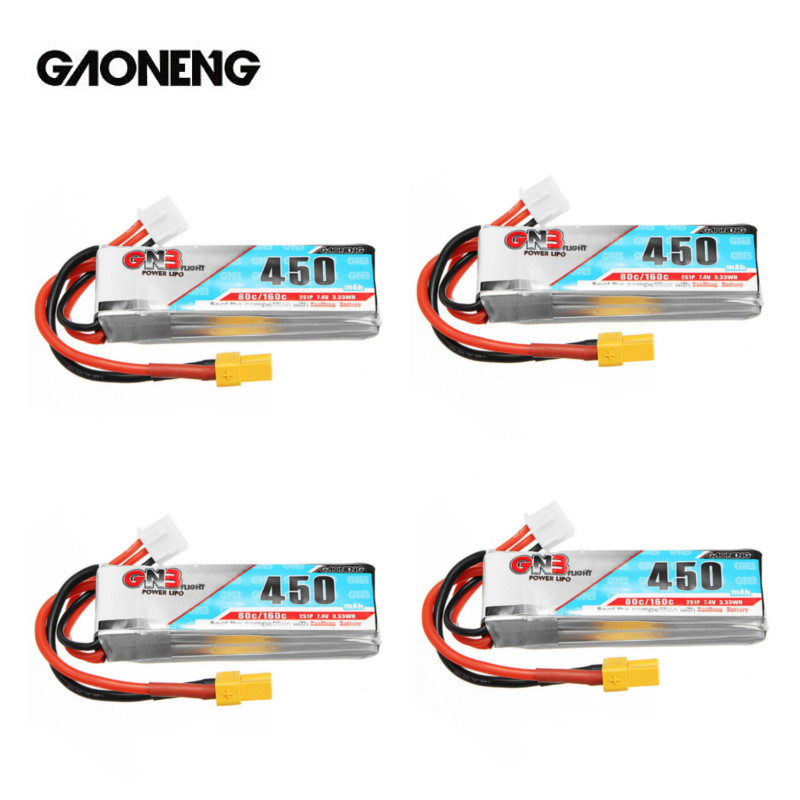 4PCS Gaoneng GNB 7.4V 2S 450MAH 80C Lipo Battery XT30 Plug For IFlight CineBee Indoor Cine Whoop BetaFPV Drone RC Quadcopter