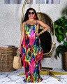 Женское пляжное платье-макси на бретелях, свободное платье знаменитого бренда с принтом, лето 2021