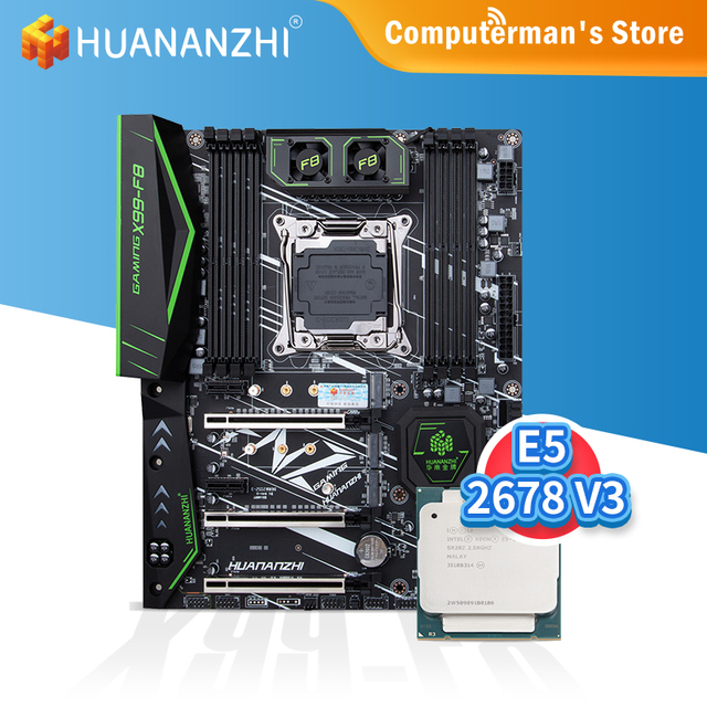 HUANANZHI X99 F8 X99 Motherboard combo kit set Intel XEON E5 2678 V3 support 8 * DDR4 RECC NON-ECC memory M.2 NVME USB3.0 ATX