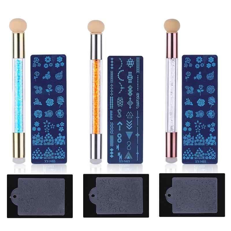 Dual-ended Rhinestone จับหัวฟองน้ำซิลิโคน Stamper เล็บแสตมป์ปากกาเล็บการพิมพ์แม่แบบเล็บเจลเครื่องมือ