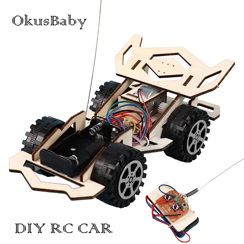 DIY RC Sport Car Toys Children Educational Wood Model Assemble Remote Control Toys Set Electric Student Scientific Learning Toys