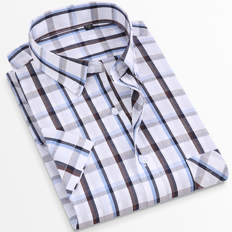 For Summer S~8XL 100% Cotton Breathable Short Sleeve Men's Checkered Shirt  Slim Fit Casual Cool Male Plaid Shirts Many Colors 2