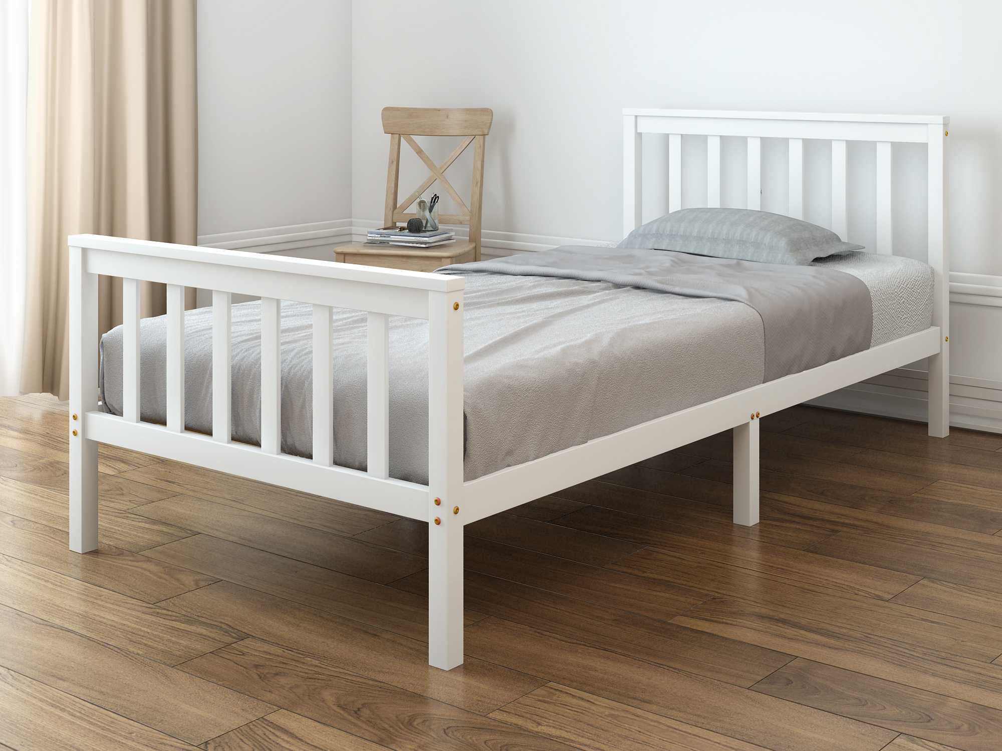 Panana Pure Solid Wood Single Bed Children's Sheet Bed 3FT Wooden Bed White / Natural For Boys And Girls Nordic Teenagers
