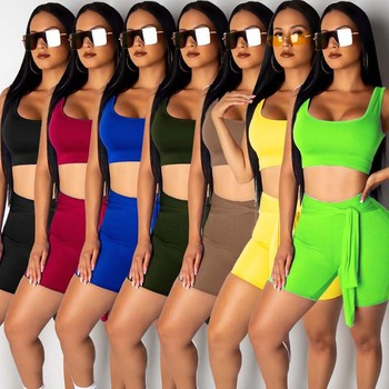 Casual Summer Two Piece Set Women Crop Top And Biker Shorts Set Elastic Neon Fitness Tracksuit Solid Outfits Matching Sets heyoungirl casual patchowrk two pieces tracksuit women summer crop top and sweat shorts outfits ladies letter print matching set