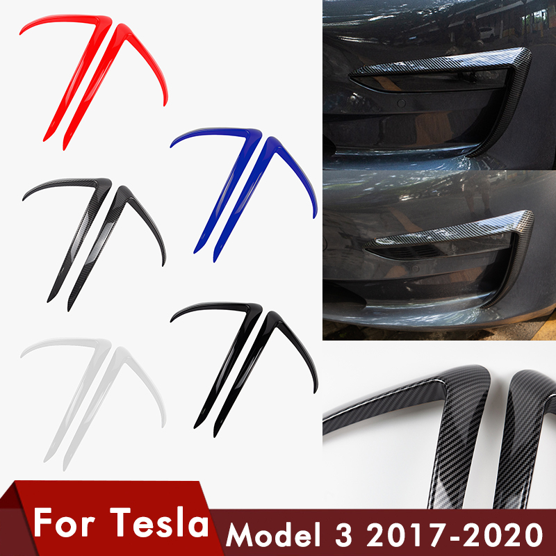 Front Blade Trim For Tesla Model 3 Accessories ABS Carbon Fibre Black Car Styling Auto Accessories For Tesla Model3 2017-2020